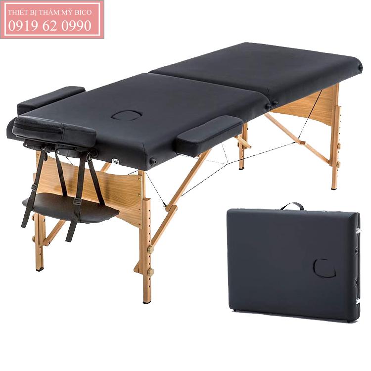 Giường vali chân gỗ dạng gấp gọn cho nối mi